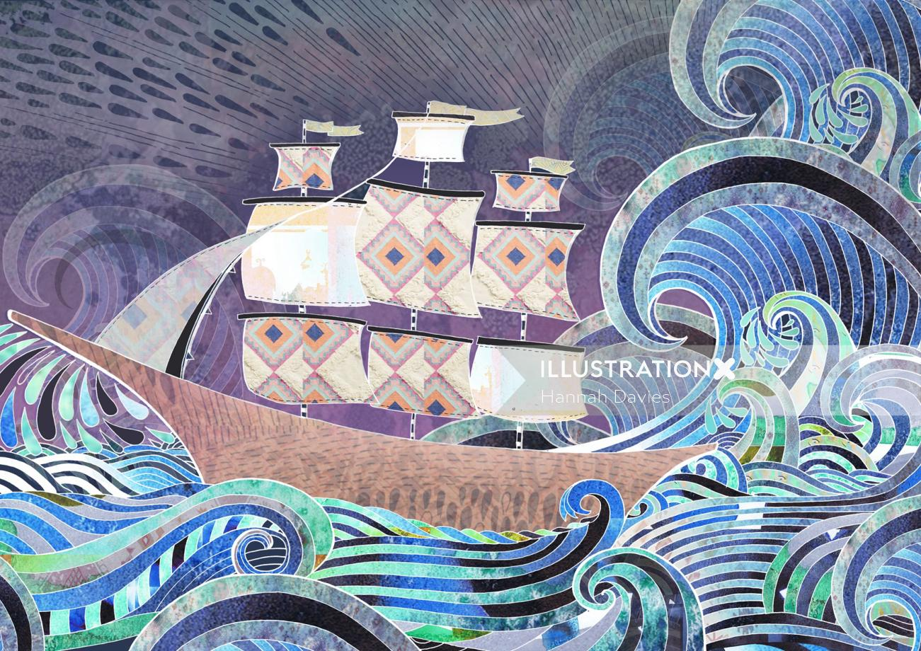 Ships at the marina graphical illustration