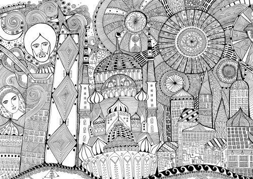 Cartes en noir et blanc de la ville