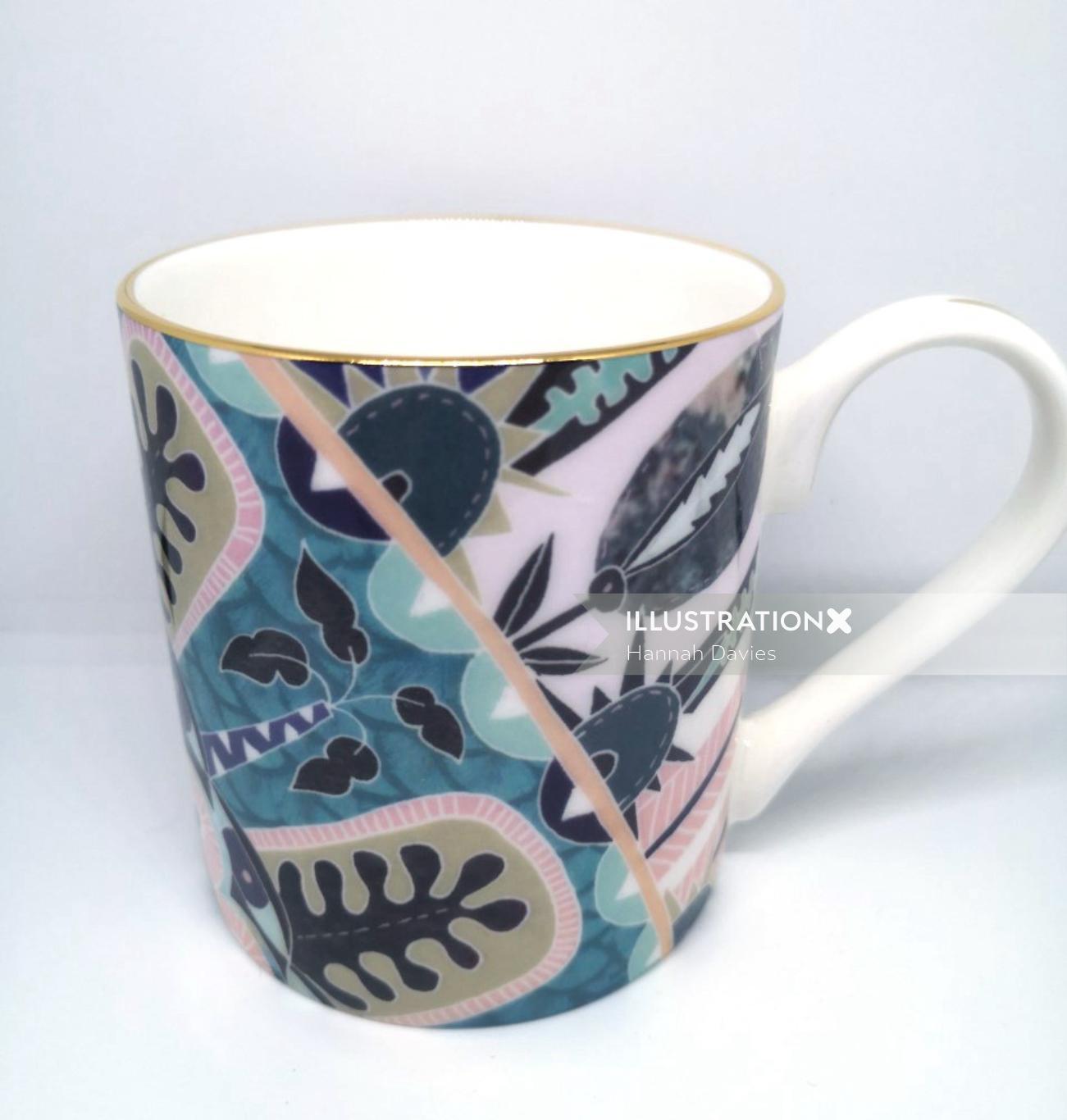 decorative detailed illustration of mug