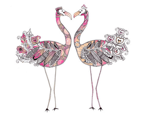 Flamingo illustration by Hannah Davies