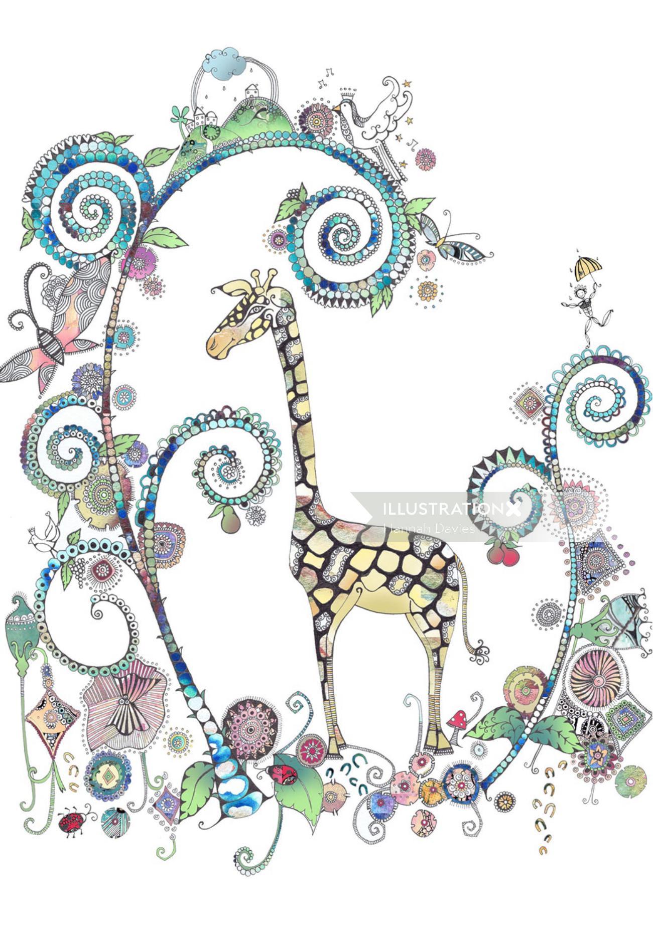 Giraffe illustration by Hannah Davies