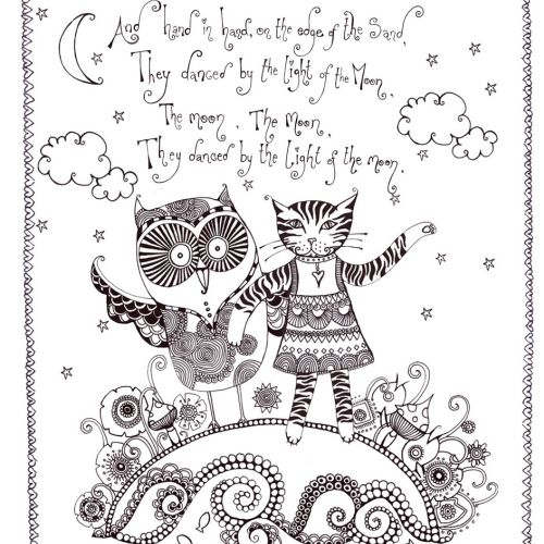 Owl and cat illustration by Hannah Davies