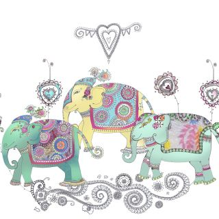 Three designed elephants illustration by Hannah Davies