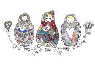 Three little Girls illustration by Hannah Davies