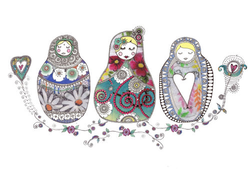 Three little Girls illustration by Hannah Davies