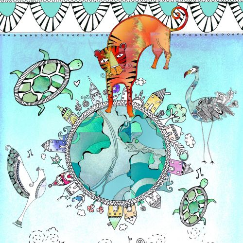 Animals, Peace on earth illustration by Hannah Davies