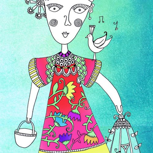 Folk woman fashion illustration