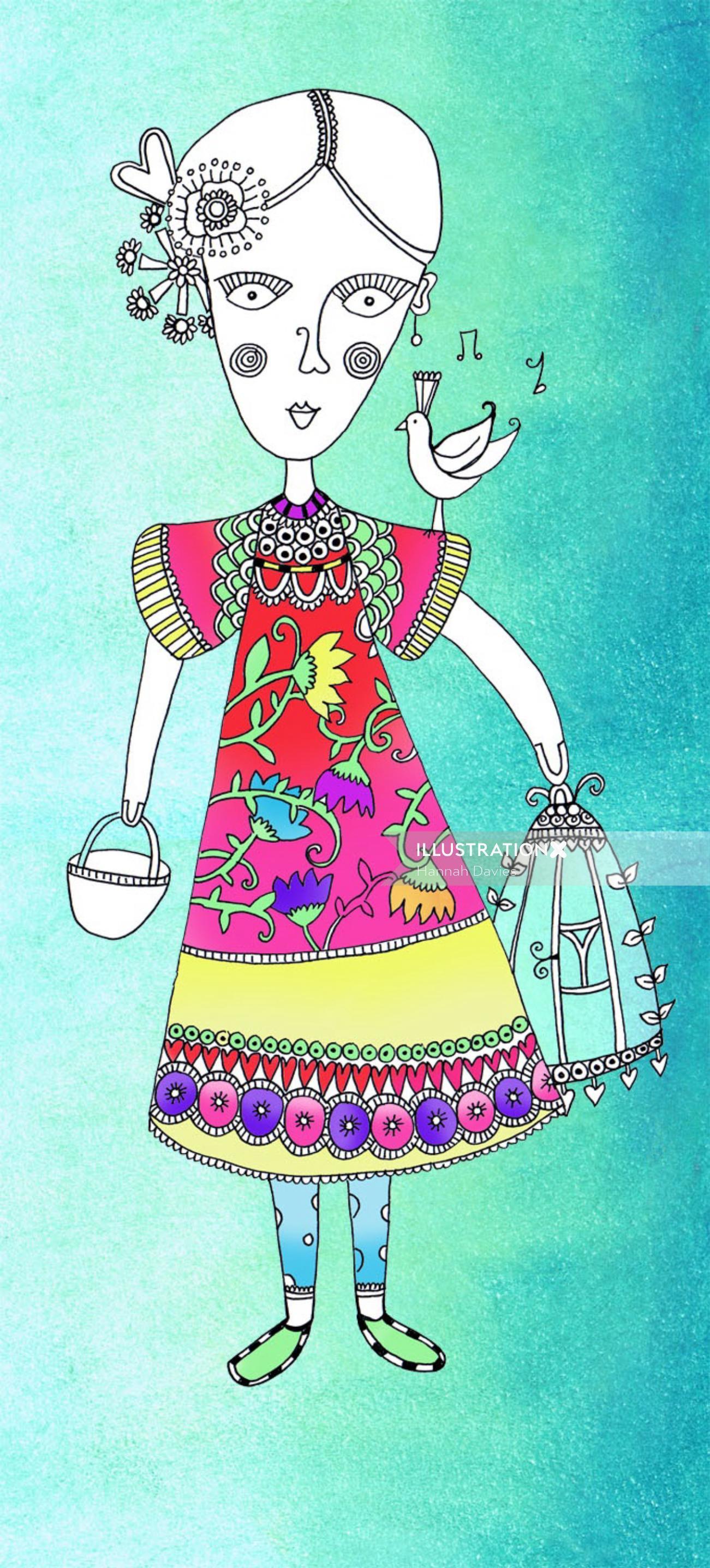Folk woman fashion illustration