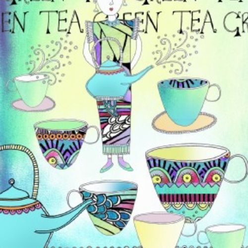 Lady holding tea mug, tea cups - Illustration by Hannah Davies