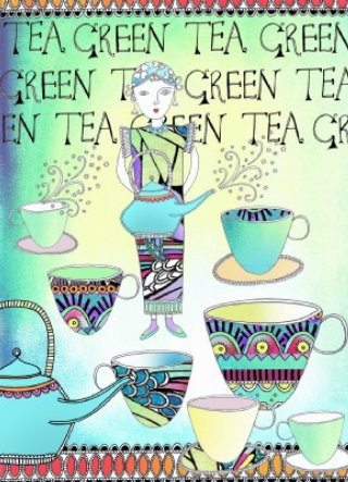 Lady holding tea mug, tea cups - Illustration by Hannah Davies