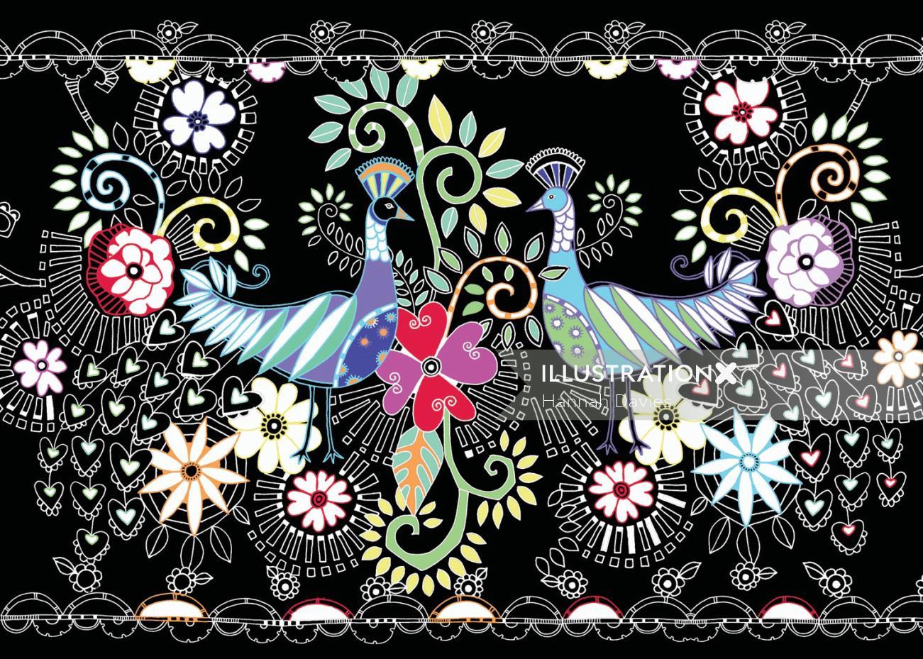 Peacock illustration by Hannah Davies