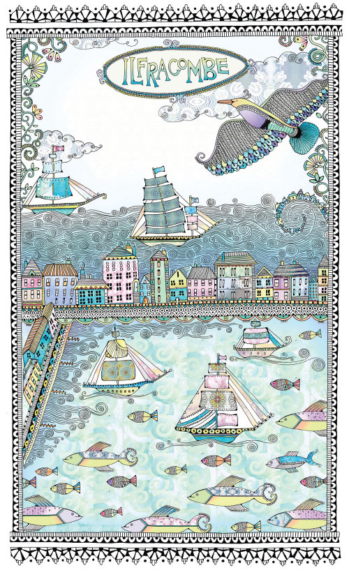 Fishes and boats illustration by Hannah Davies