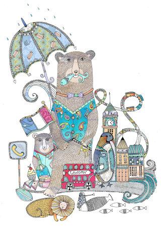 Bear holding umbrella illustration by Hannah Davies