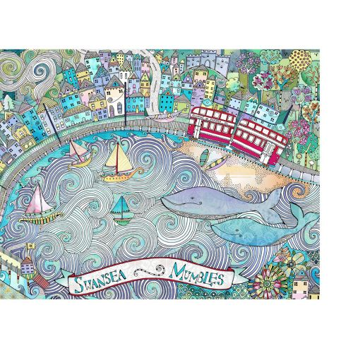 Landscapes illustration of Swansea and Mumbles by Hannah Davies
