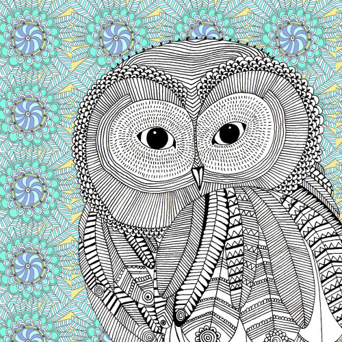 Owl in black and white - An illustration by Hannah Davies