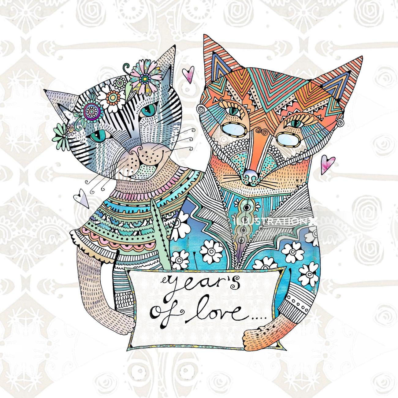 Whimsical cats illustration by Hannah Davies