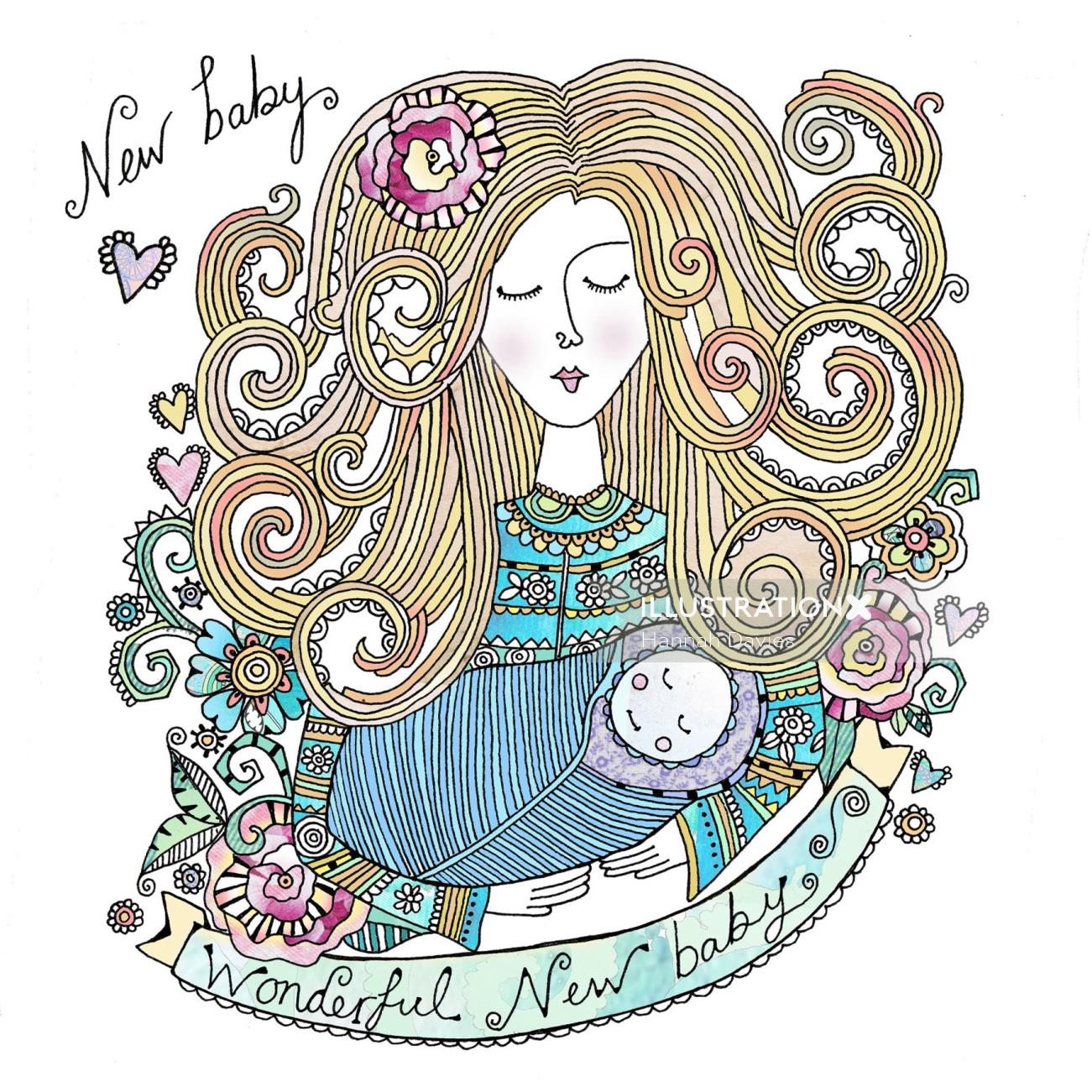 Mother and baby illustration by Hannah Davies