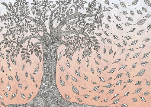 Leaves falling from tree - An illustration by Hannah Davies
