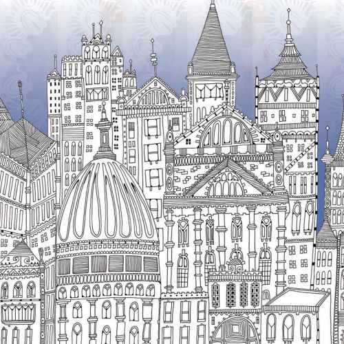 Buildings landscapes illustration by Hannah Davies