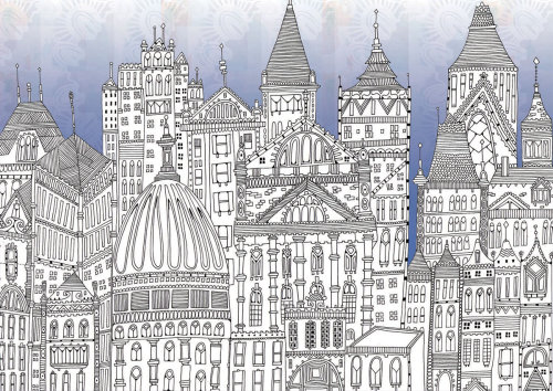 Buildings landscapes illustration by Hannah Davies