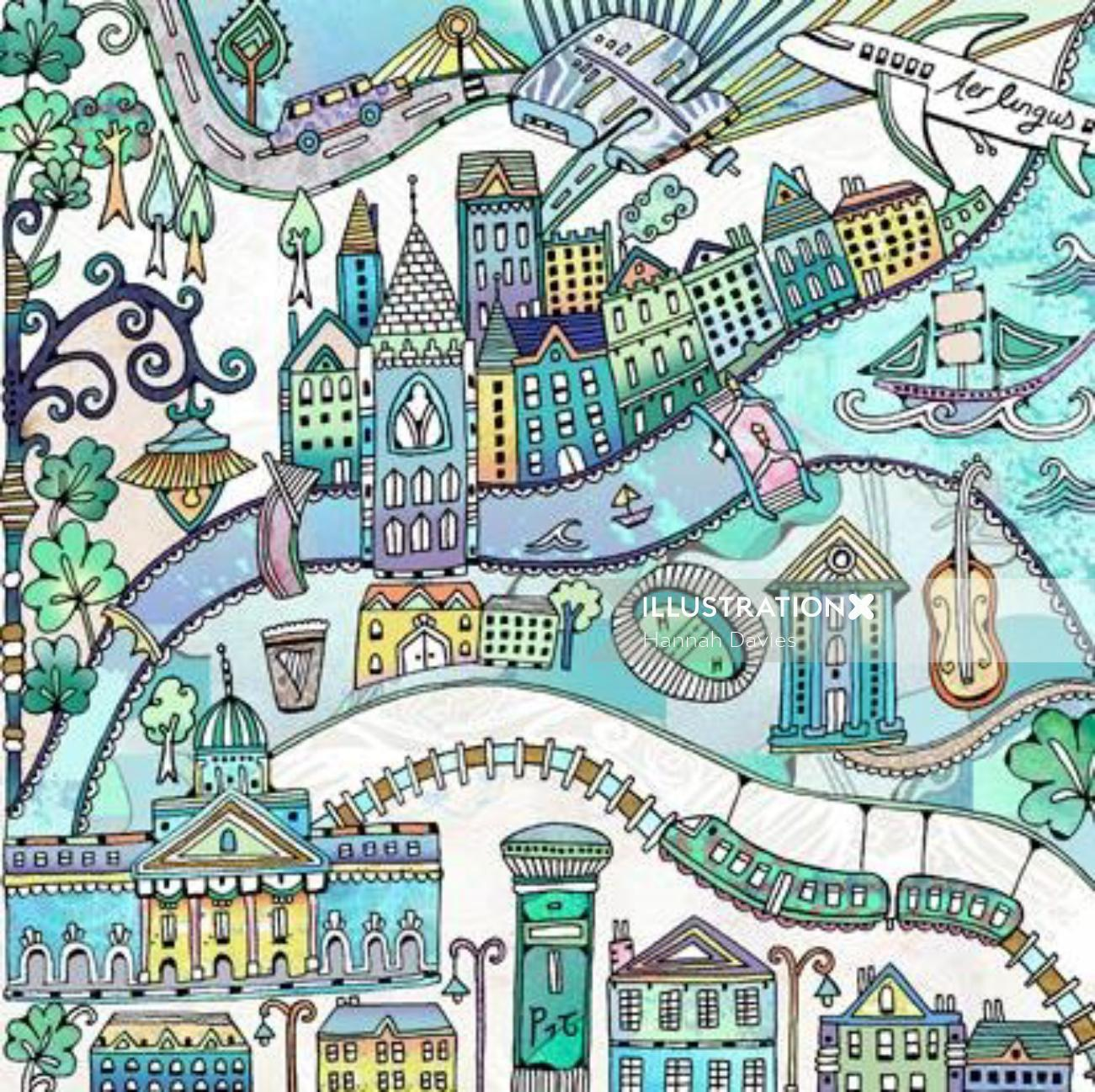 Dublin illustration by Hannah Davies