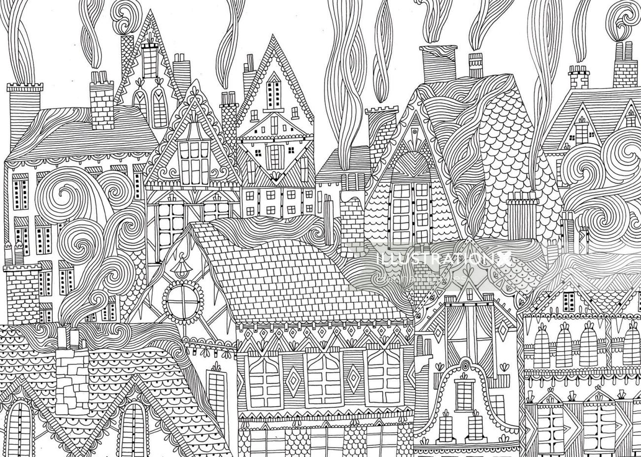 ink and brush made Winter houses