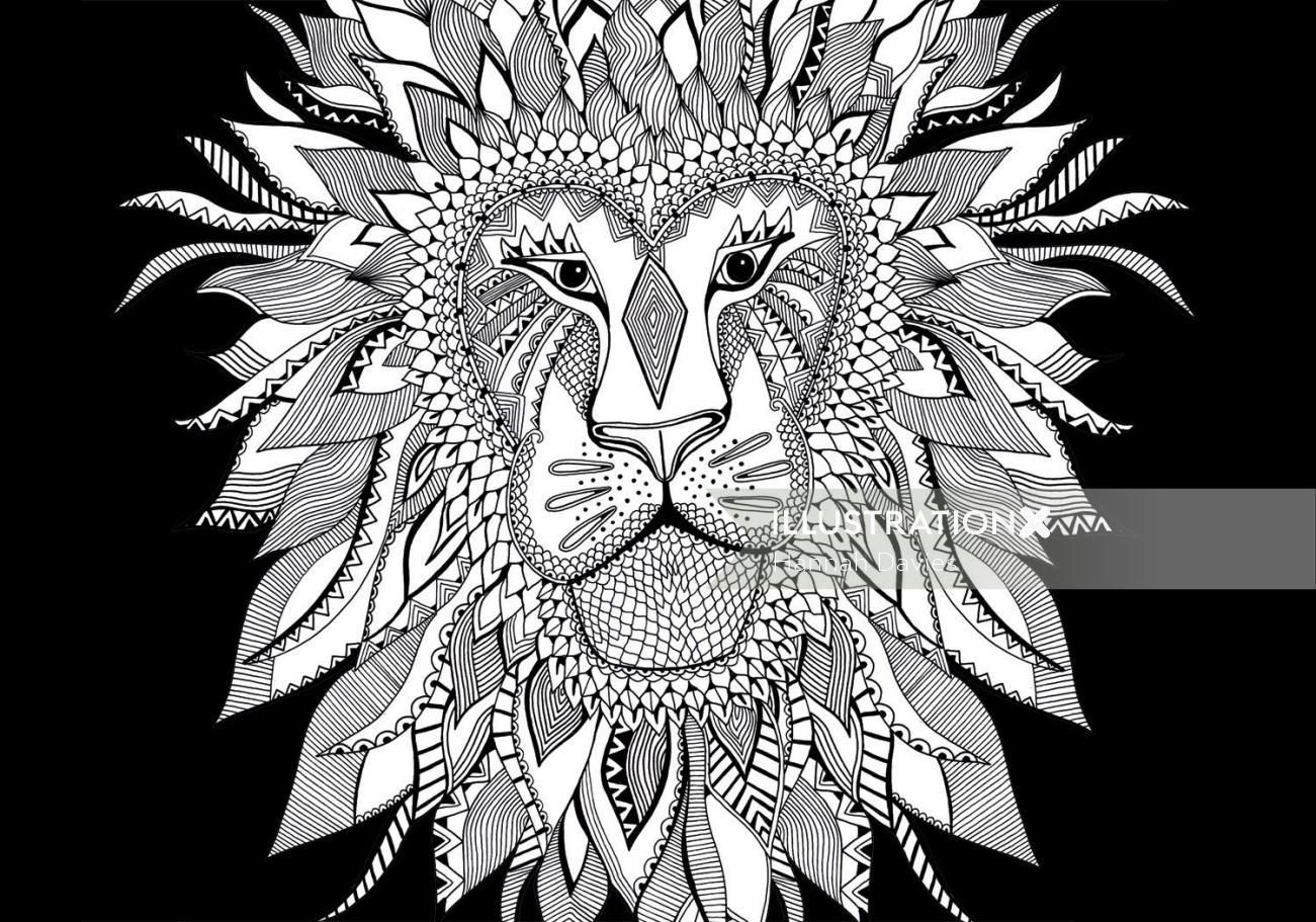 Lion black and white illustration