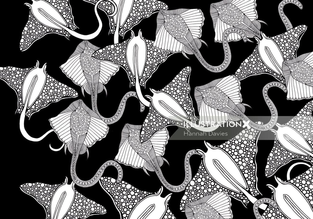 Sting ray black and white illustration