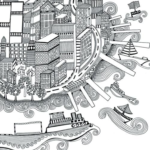 Decorative Line drawing of city