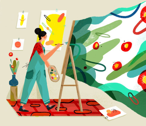 Lifestyle illustration of painting artist