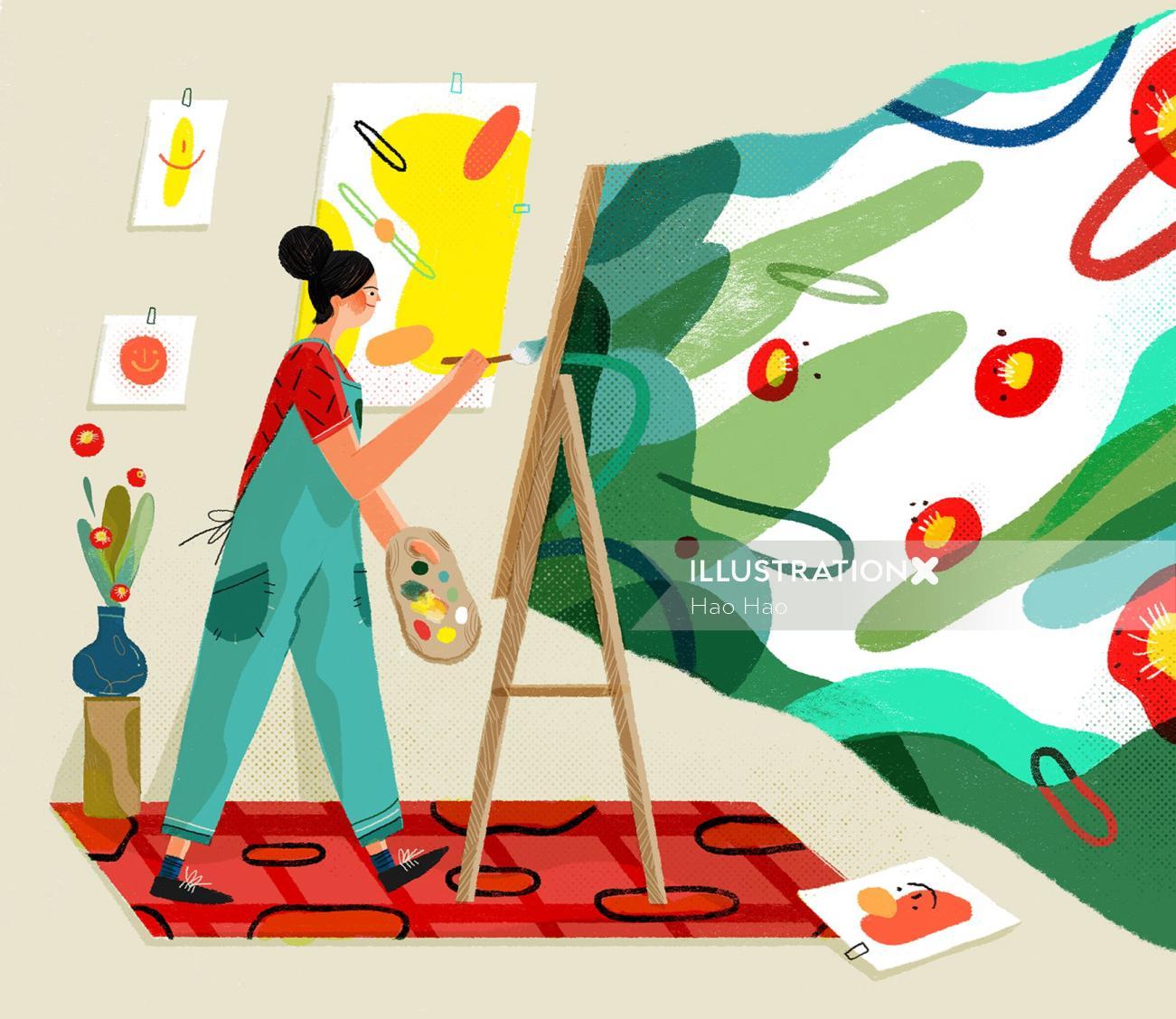 Lifestyle illustration of painting artist