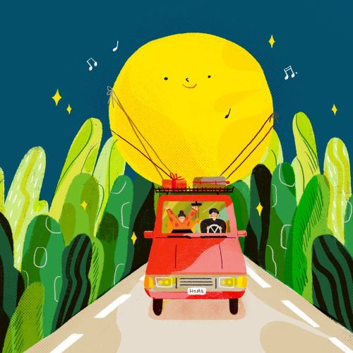 Family travelling lifestyle illustration