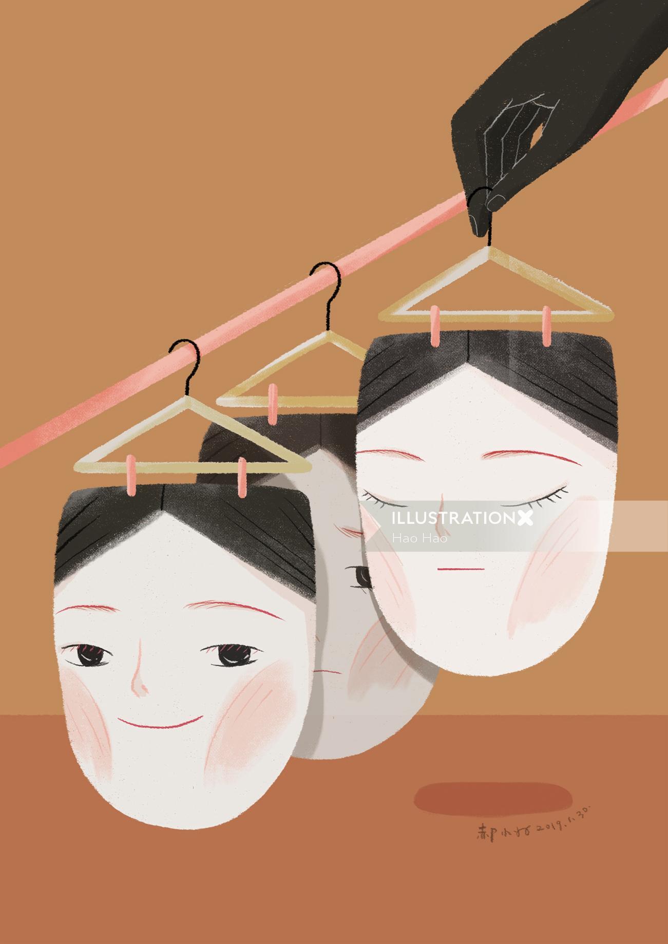 Pencil art of face hanger