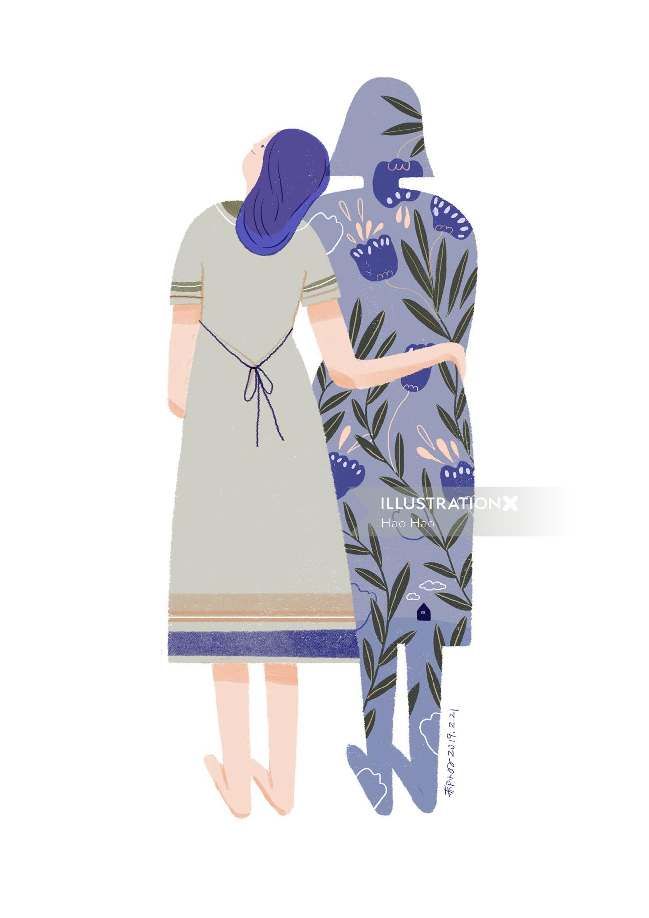 Woman shadow love conceptual illustration