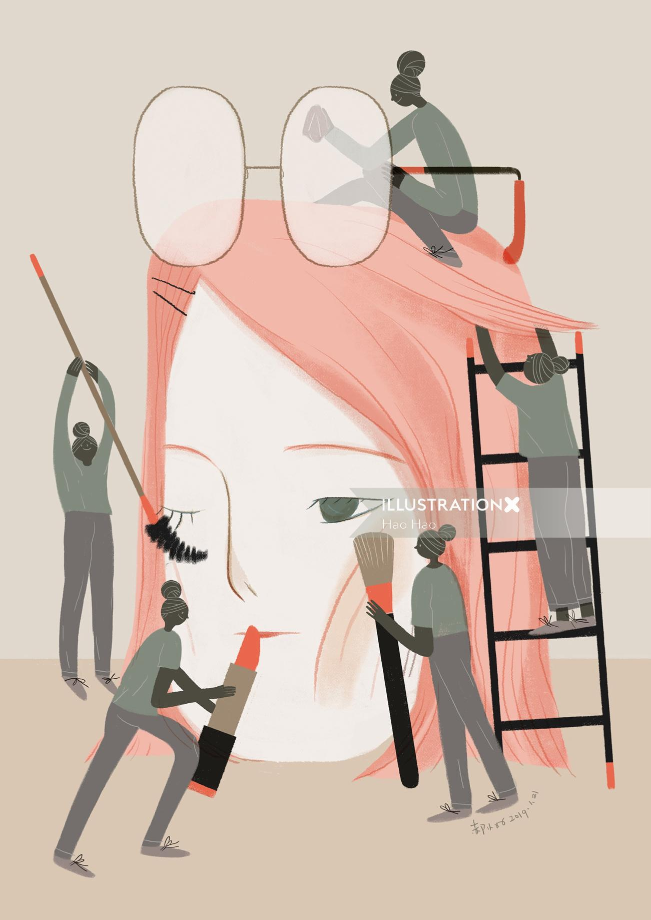 Conceptual art of makeup artist