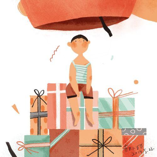 Digital painting of kid birthday gifts