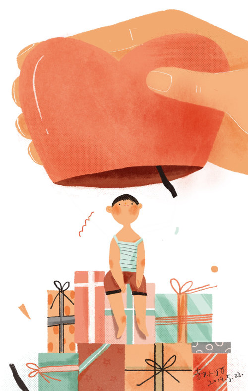 Digital painting of kid birthday gifts