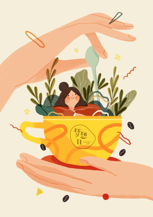 Conception graphique de fille assise dans une tasse de café