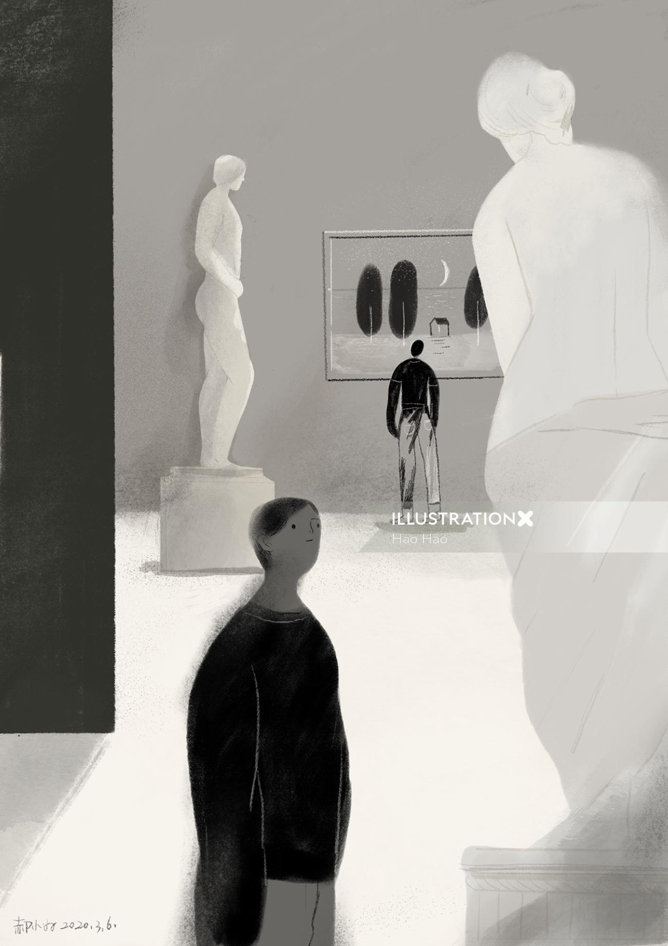 Black and white art of museum