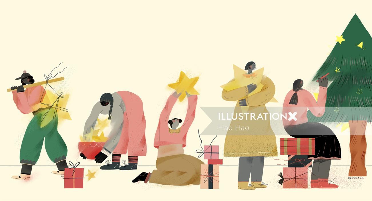 Graphic design of Christmas celebration