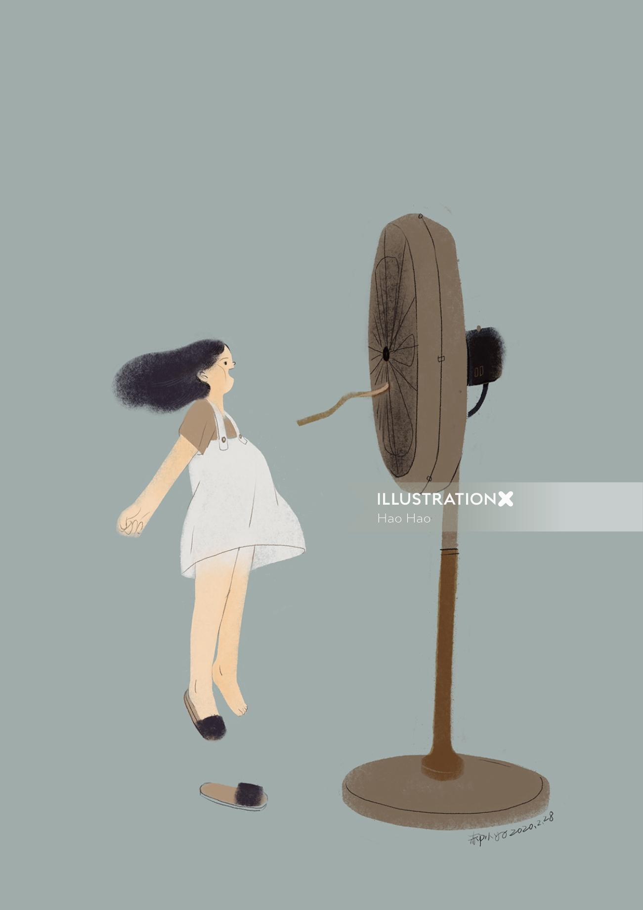 Girl playing with Pedestal Fan illustration