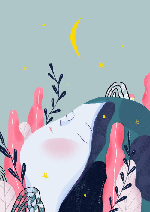 Illustration numérique de la femme dans la nature