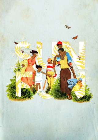 Illustration of family having fun