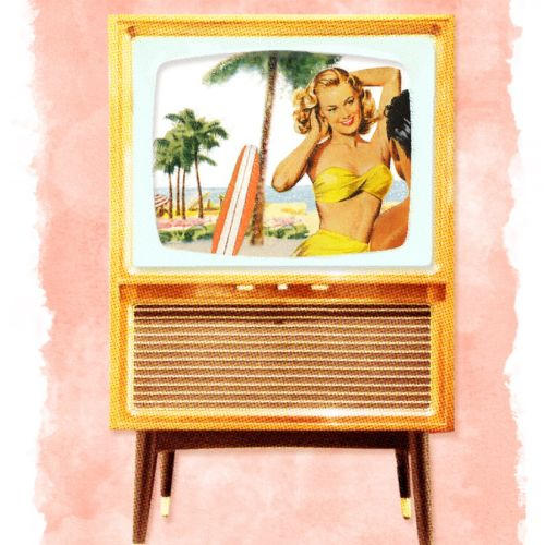 Watercolor painting of bikini girl in picture frame