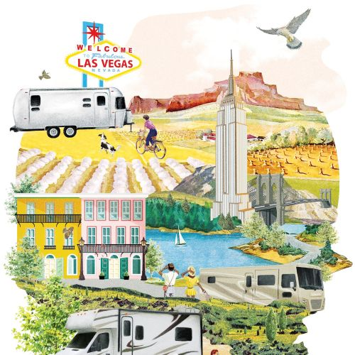 Los Vegas collage art by Heather Landis