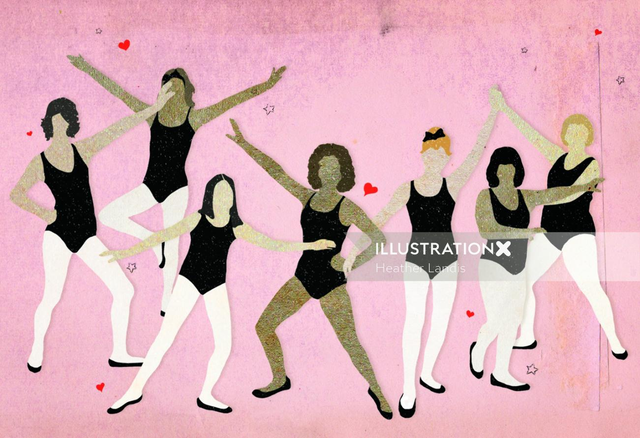 Different styles of dance artwork by Heather Landis