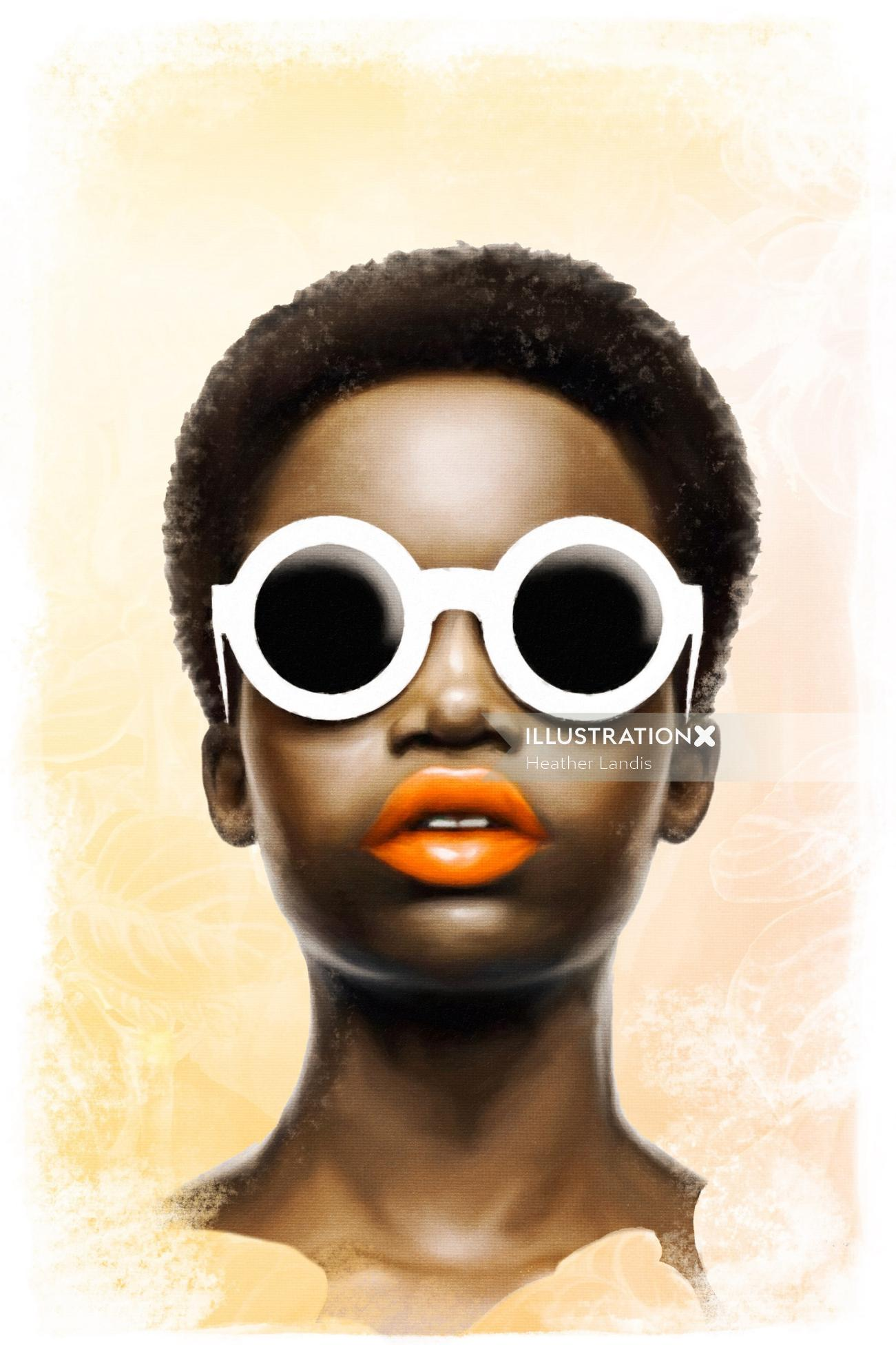Black american girl portrait art by Heather Landis
