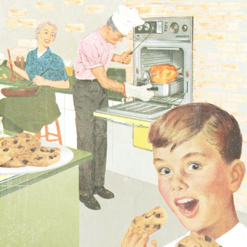 Family cooking in kitchen drawing by Heather Landis