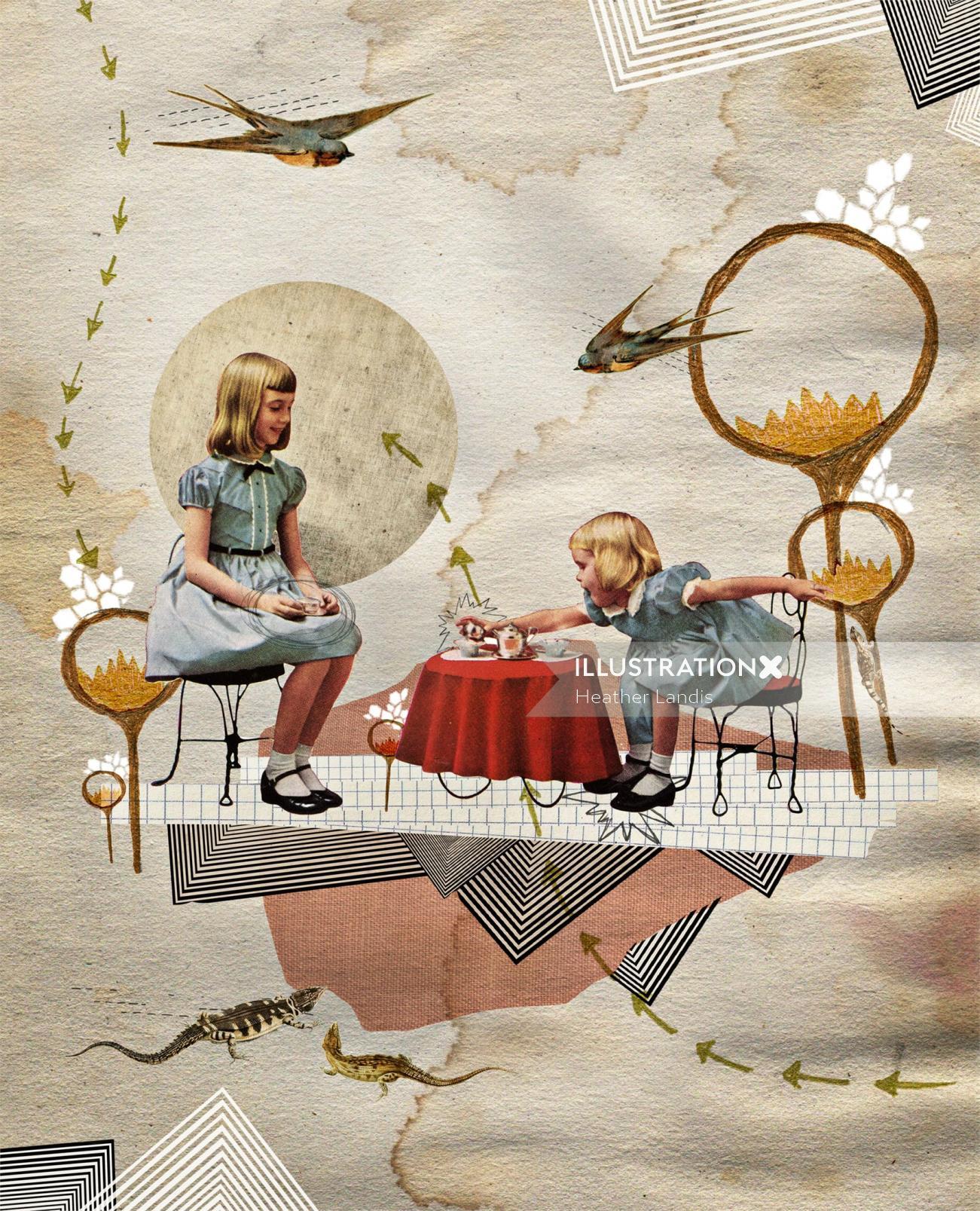 Girls playing illustration by Heather Landis