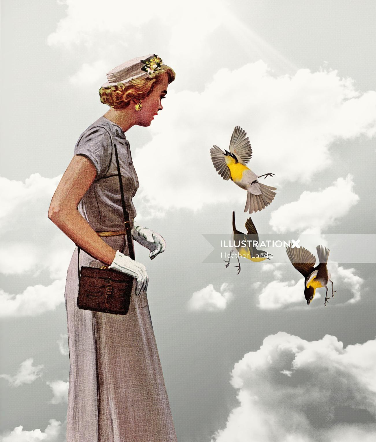 Woman passing by flying birds